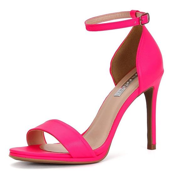 Sandália Neon Pink De Salto Fino Alto - New Elegance