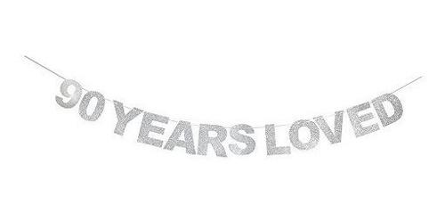 Imagen 1 de 5 de Waway Pancarta De Cumpleaños De 90 Años Diseño De Corazon