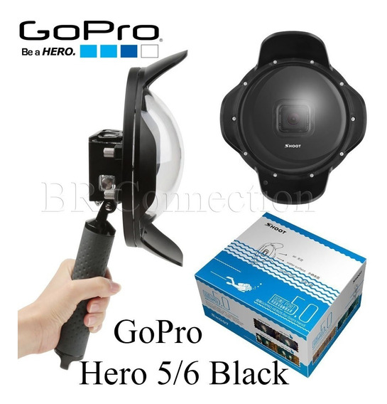 Dome Port 6 Pol. + Caixa Estanque Gopro Hero 7 6 5 Black