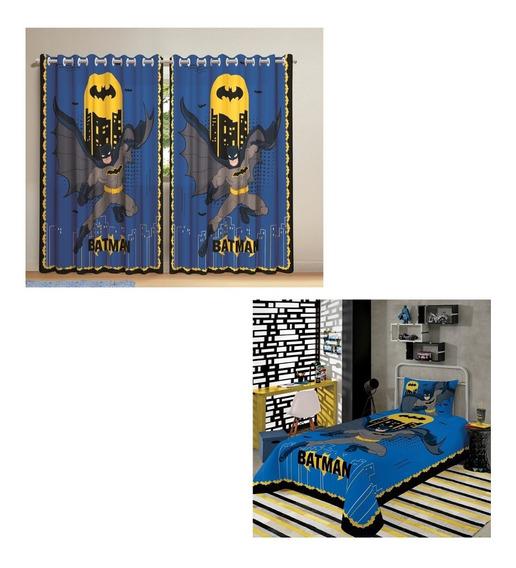 Batman Cortina E Jogo De Cama 2 Peças Lepper