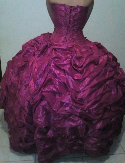 Vestido Quince Años Rosa Fiucha