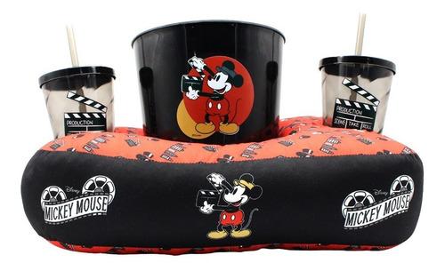 Kit Pipoca Almofada Balde E Copos Disney Mickey Mouse