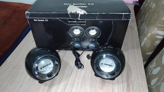 Mini Caixa De Som 2.0 Bomber Preto C/ Amplificador