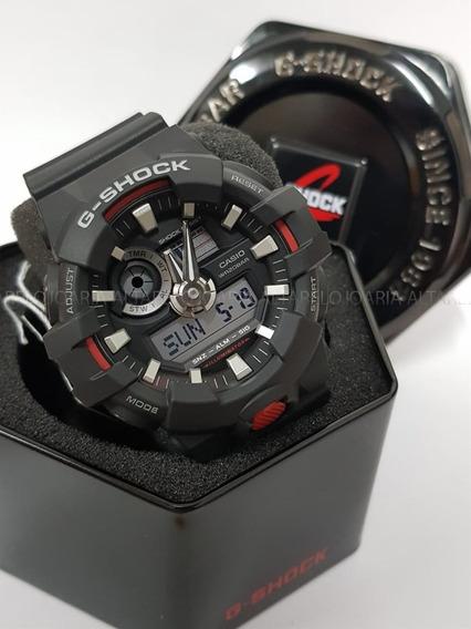 Relogio Casio G-shock Preto Detalhes Vermelho Ga-700-1ad