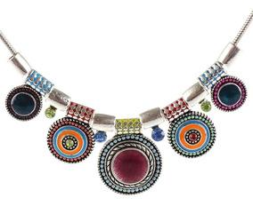 Maxi Colar Étnico Boho Tribal Hippie Luxo Pedras Colorido