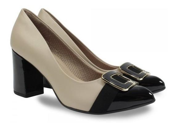 Sapato Piccadilly Bico Fino-preto/nude 746002