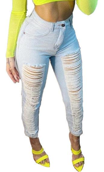 Calça Jeans Feminina Mom Rasgada Cintura Alta Tendencias