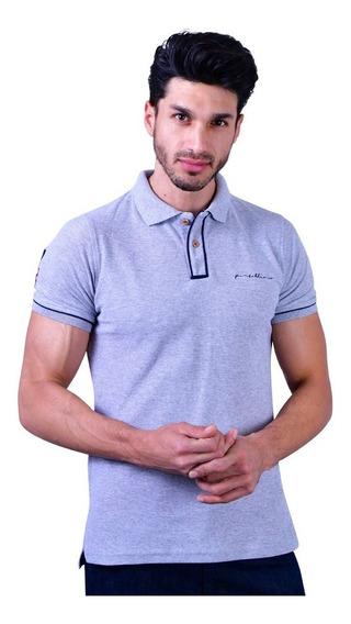 Camisa Polo Porto Blanco Algodon Caballero Gris