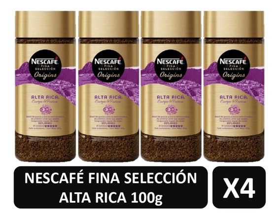 Cafe Nescafe Alta Rica Fina Selección Origins X4 Frascos