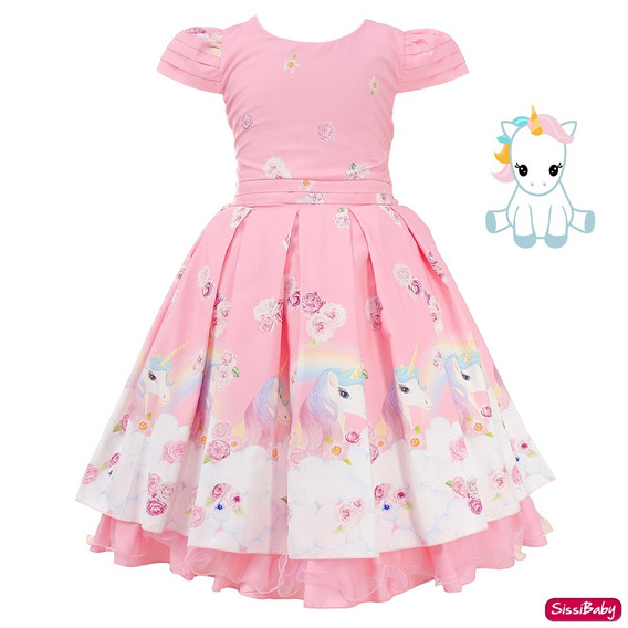 Vestido Unicórnio Encantado Festa Infantil Luxo 4 A 12