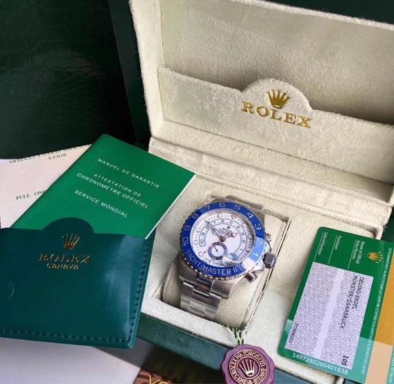 Rolex Yach-master 2 Azul Prata Com Caixa E Documentos