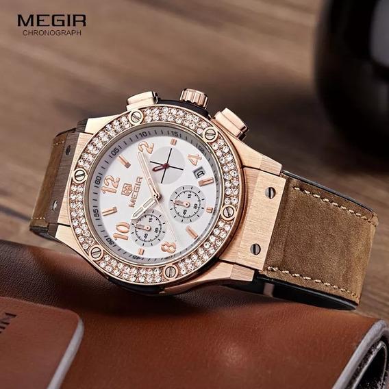 Relógio Feminino Megir 2045l Couro