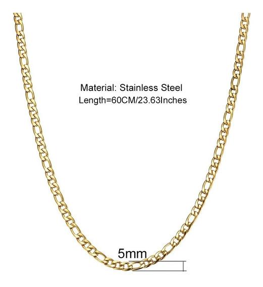 Corrente Cordão 2 Banhos Ouro 18k - 66 Cm, 5mm, Figaro 3x1