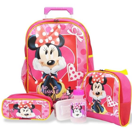 Kit Escolar Mochila Minnie Mouse Rodinhas + Bolsa De Viagem