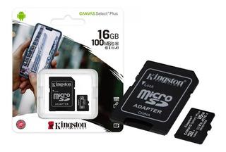 Microsd 16gb + Adap. Sd Kingston Clase 10 Canvas Select Plus