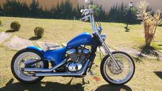 Moto Antiga Old School Azul Honda Shadow 600 2003