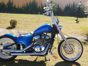 Moto Antiga Old School Azul Honda Shadow 600 2003