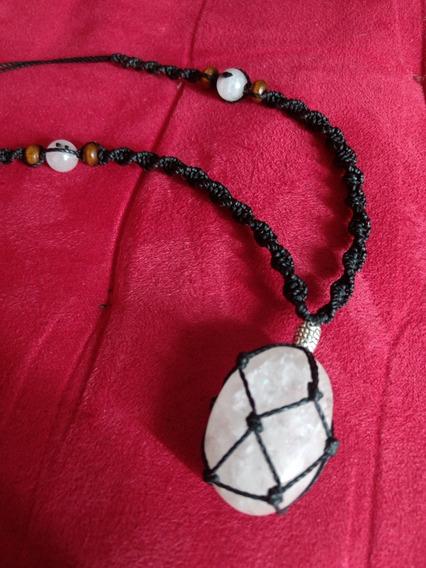 Colar Pingente Quartzo Branco Amuleto Cristal Natural Cura