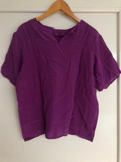 Blusa Violeta De Mujer De Seda Vintage