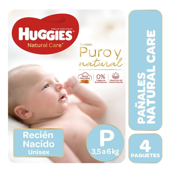 Pañales Huggies Natural Care Puro Y Natural P Y Rn Pack X 4