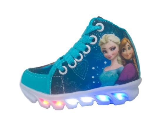 Sapato Bota 6 Led Luz Frozen Infantil Feminina Promoção