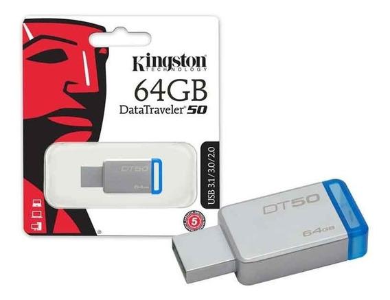 Pen Drive 64gb Usb 3.1 Kingston Dt50/64gb Metal Azul C/ Nota