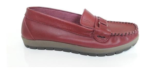 Zapatos Mocasin De Cuero Legítimo Mujer