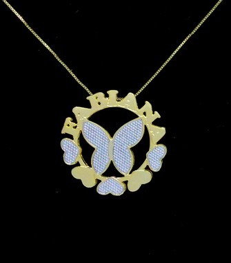 Colar Mandala Com 1 Nome Coleção Borboleta Folheado Ouro 18k