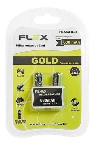 Pilha Recarregável Ni-mh Flex Gold Aaa 630 Mah 1.2v C/ 2