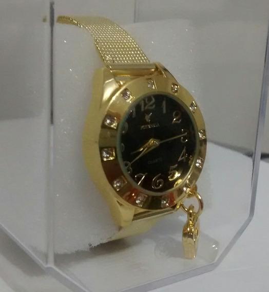 Relógio Feminino Dourado Luxo Para Mulheres Lindas