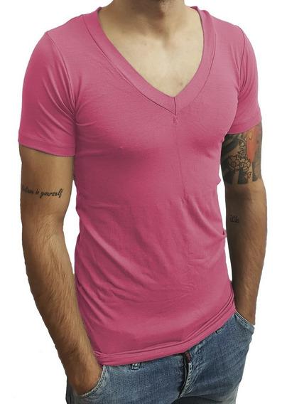 Camisa Slim Gola V Funda Masculina Manga Curta Viscose