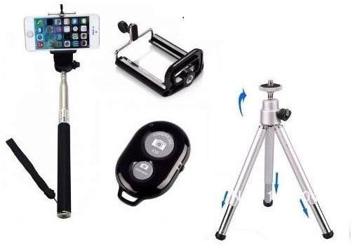 Kit Youtuber, Celular, Mini Tripé Pau De Selfie - Controle