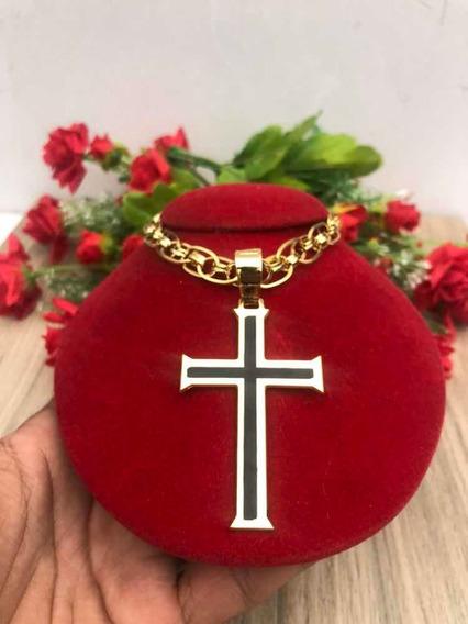 Cordão Imperador Banhado A Ouro Pingente Cruz Crucifixo 65cm