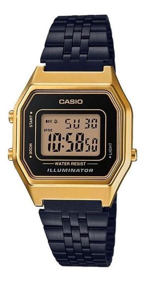 Relógio Casio Vintage Unisex La680wegb-1adf Preto E Dourado