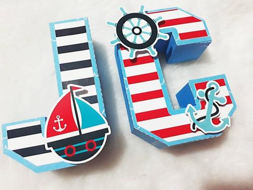 Letras 3d Y Numero 3d  Estilo Marinero Nautico Mesa Dulce X6