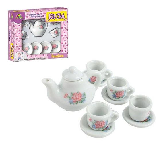 Miniatura Conjunto Jogo De Chá Café Porcelana 9 Peças Flores