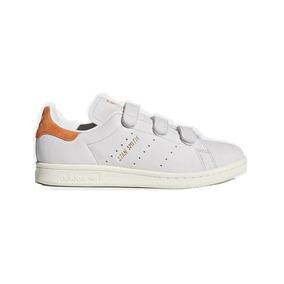 Tênis Velcro adidas Stan Smith Branco Laranja Pronta Entrega
