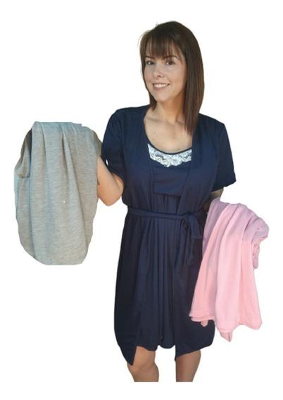 2 Conjuntos Camisola Maternidade Gestante Amamentação +robe