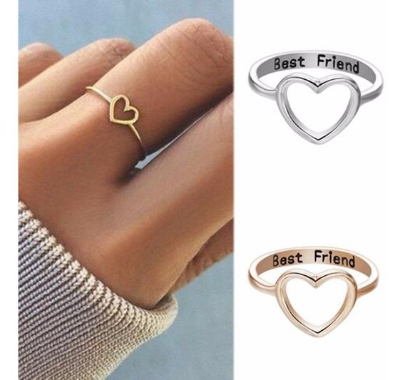 3 Anel Coração Amor Best Friend Melhor Amigo Banhado A Ouro