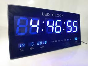 Relógio Parede Led Digital Gigante 46cm Data Termometro Azu