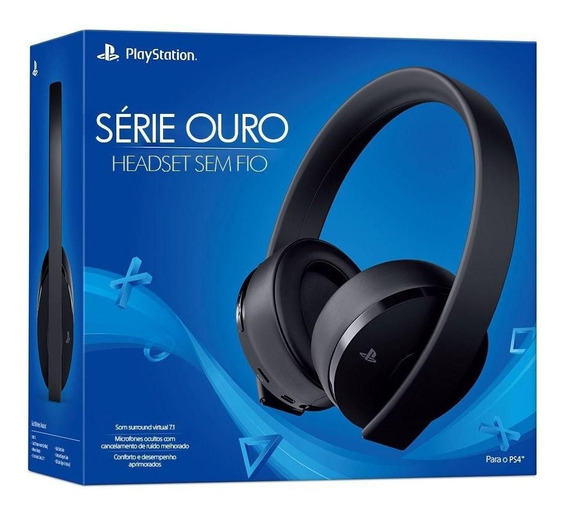 Fone Ps4 Sony Série Ouro 7.1 Sem Fio Headset Gold Microfone