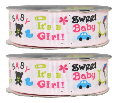 Imagen 1 de 3 de Listón Popotillo Estampado Baby Shower,2 Piezas,014-1-p
