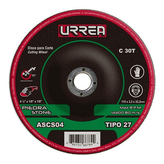 Disco T/27 Piedra4-1/2x1/8gral Ascs04 Urrea