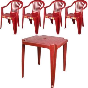 Conjunto De Mesa Monobloco E 4 Cadeiras Poltrona Vinho - Ant