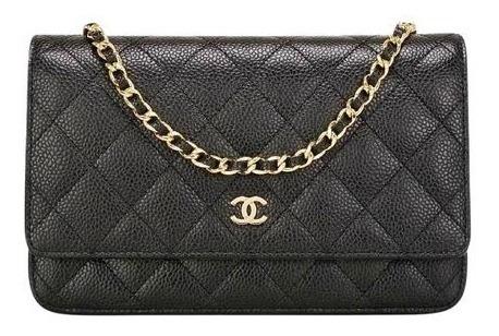 Bolsa Chanel Woc Couro Caviar Preta Metais Prata C/ Caixa