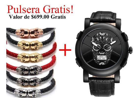 Reloj Calavera Sugar Skull Negro Steel Mexico Craneo Acero P