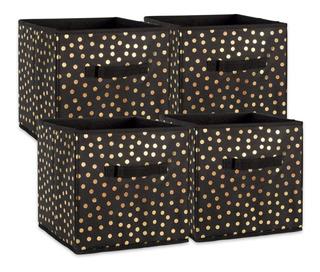 Cajon Caja Almacenamiento Plegable Recamara Dii Gold Dots, 4