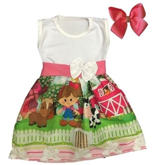 Vestido Infantil Festa Temático Fazendinha + Laço Brinde