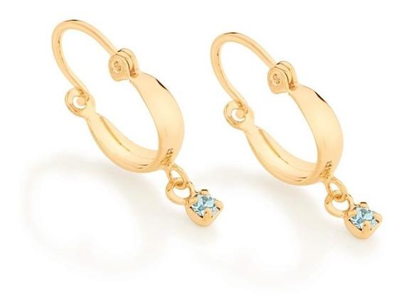 Brinco Rommanel Folheado Ouro 18k Argola Cristal Azul 523201