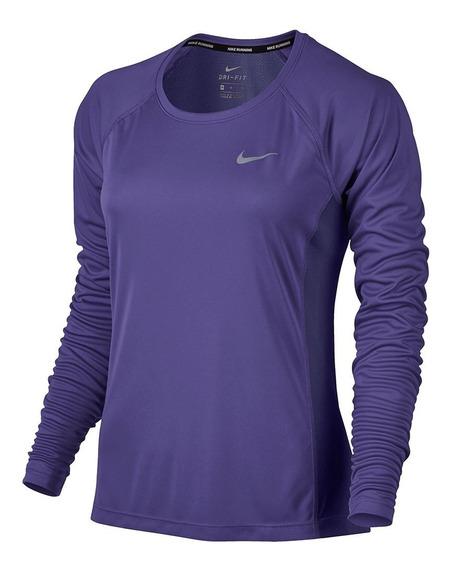 Camiseta Nike Manga Longa Dry Miler Top Feminino Nfe Freecs
